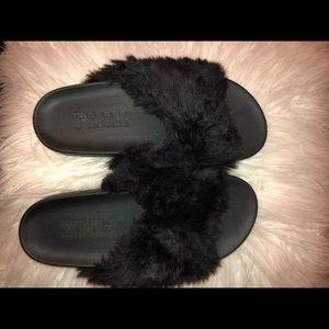 Victoria secret PINK black furry slides SIZE 5